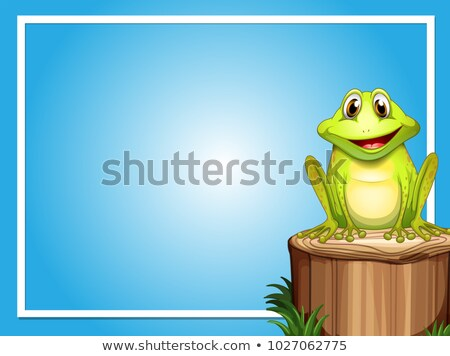 Frame template with happy frog on the log Stock photo © colematt