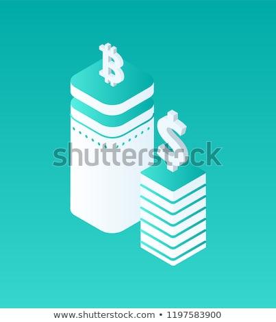 Stock fotó: összehasonlítás · szett · pénznemek · izolált · izometrikus · ikon · gyűjtemény