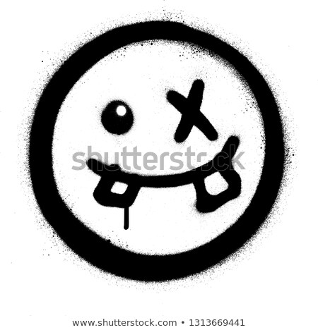graffiti silly emoticon smiling in black over white Stock photo © Melvin07