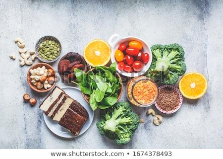 étel · vasaló · ételek · tojások · spenót · zöldborsó - stock fotó © furmanphoto