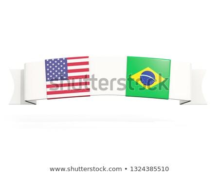 Banner twee vierkante vlaggen Verenigde Staten Brazilië Stockfoto © MikhailMishchenko