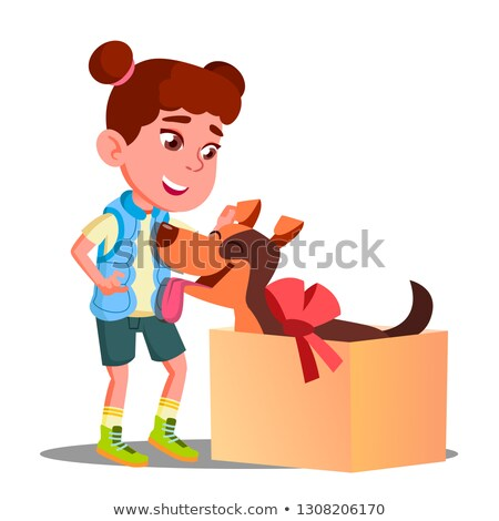 Stockfoto: Gelukkig · meisje · uit · geschenkdoos · hond · vector