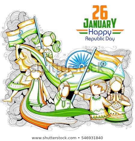 Heureux indian enfants drapeaux Inde Photo stock © pikepicture
