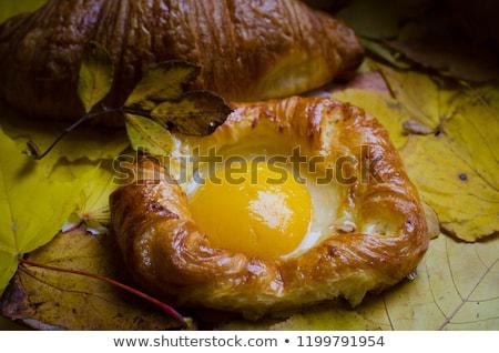 Stockfoto: Gebak · perziken · houten · tafel · voedsel · cake