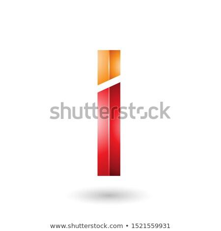 Turuncu kırmızı dikdörtgen biçiminde parlak mektup i soyut Stok fotoğraf © cidepix