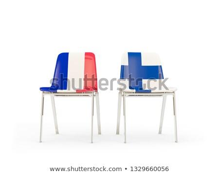 Kettő székek zászlók Franciaország Finnország izolált Stock fotó © MikhailMishchenko