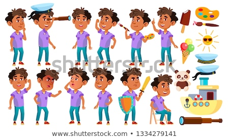 arab muslim boy kindergarten kid poses set vector preschool childhood smile toys for web post stock photo © pikepicture