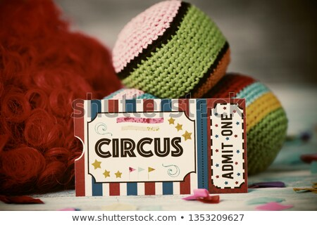circus admission ticket, wig and juggling balls Stock photo © nito