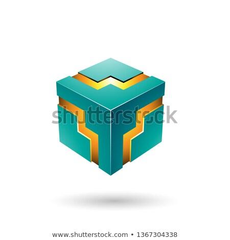 Groene zigzag kubus vector illustratie geïsoleerd Stockfoto © cidepix