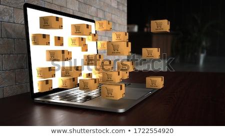 ноутбук судоходства деревянный стол 3d иллюстрации интернет торговых Сток-фото © limbi007