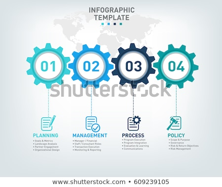 gears infographic background with four steps Stock photo © SArts