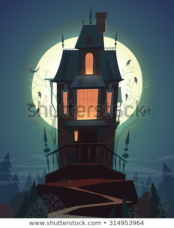 aranha · colina · casa · ilustração · casa · janela - foto stock © colematt