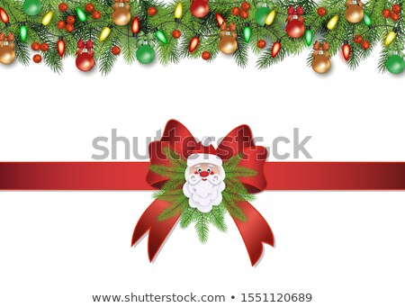 Stock photo: Red Gift Box Decorated Green Satin Ribbon Vector