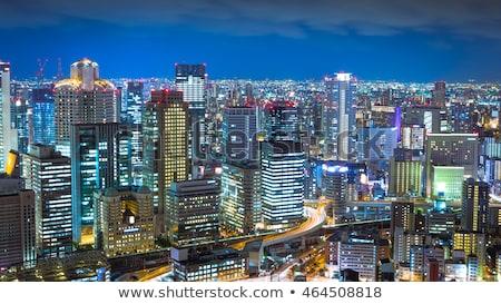 Nacht skyline Osaka stad hemel gebouw Stockfoto © alphaspirit