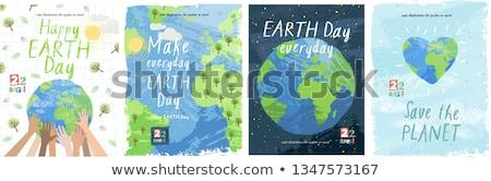Föld napja poszter illusztráció égbolt víz földgömb Stock fotó © colematt