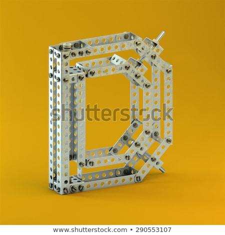 Rozsdás fém betűtípus d betű 3D 3d render Stock fotó © djmilic