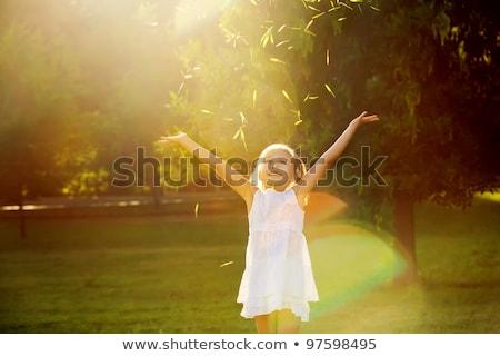 mooie · blond · tuin · zonnige · zomer · dag - stockfoto © ElenaBatkova