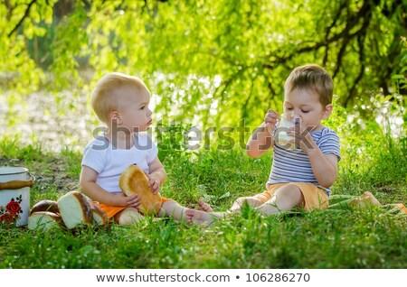 Aranyos gyermek iszik tej kint derűs Stock fotó © ElenaBatkova