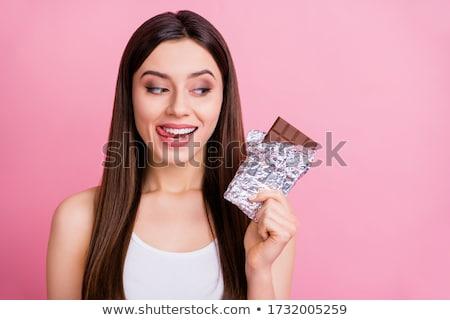 vrouw · eten · chocolade · keuken · vergadering · vloer - stockfoto © deandrobot