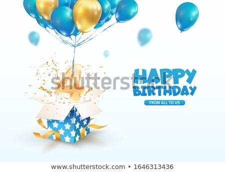 Negyedik évforduló születés ünneplés szám vektor Stock fotó © pikepicture