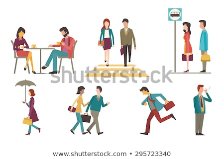 Character Pedestrian Crossing Road Set Vector Stock photo © pikepicture