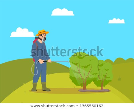 Worker with Sprayer on Hill Vector Illustration Stock photo © robuart