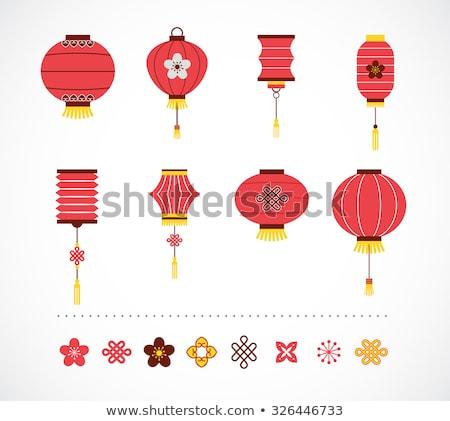 chinese new year clean flat design with lanterns stock photo © marish