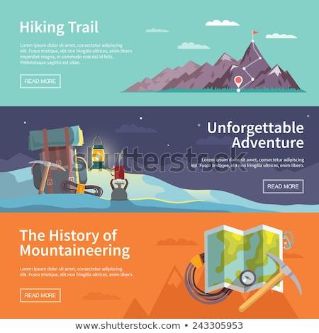 Mountaineering flat icon set Stock photo © netkov1