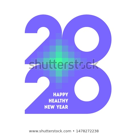Colorful numbers 2020 with abstract laser cross and wishes Stock photo © ussr