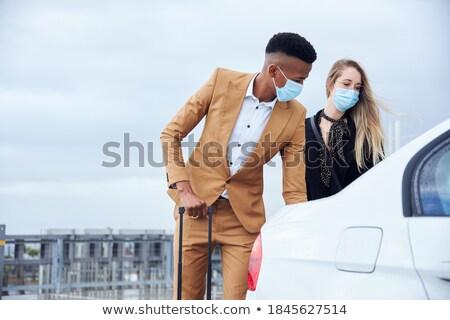 Kadın bagaj taksi araba sürücü bekleme Stok fotoğraf © Kzenon