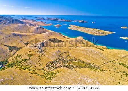 Island of Kornat stone desert archipelaho aerial view Stock photo © xbrchx