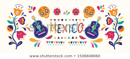 Mexican vector design elements, colorful traditional folk art patterns from Mexico, vibrant greeting Stock photo © RedKoala