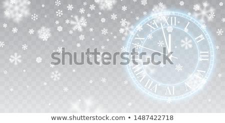 Vintage gold shining round clock. Christmas snow. Falling snowflakes on blue background. Snowfall. V Stock photo © olehsvetiukha