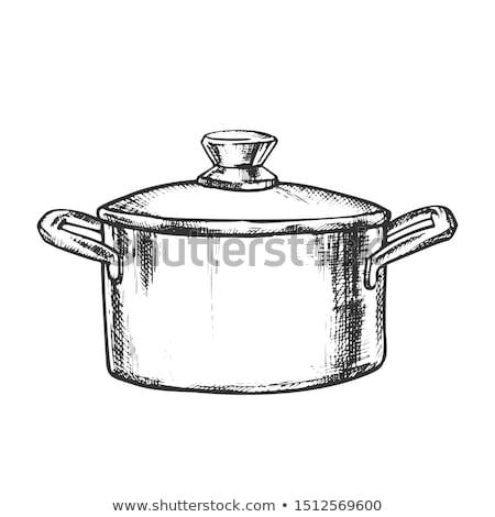 Olla inoxidable cocina batería de cocina vintage vector Foto stock © pikepicture