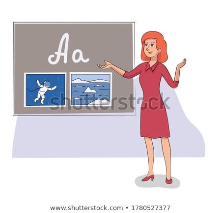 Englisch Lehrer Tafel Briefe Frau Studenten Stock foto © robuart