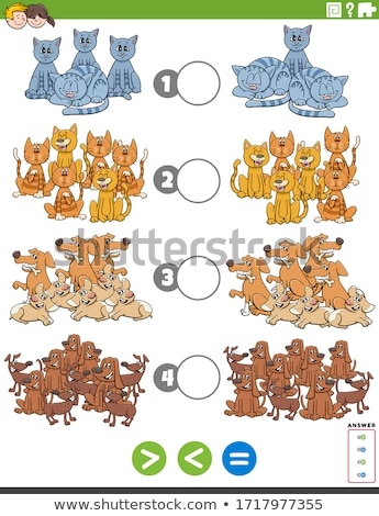 greater less or equal educational task with animals Stock photo © izakowski