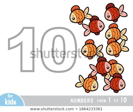 Fisch · Vorschule · Aufgabe · Karikatur · Illustration · pädagogisch - stock foto © izakowski