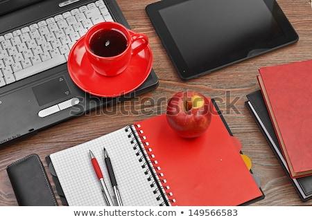 Iroda piros munkahely kávéscsésze készlet számítógép Stock fotó © karandaev