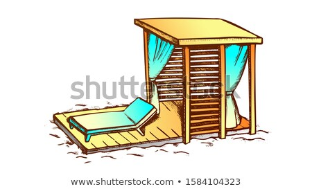 Deck Chair And Wooden Canopy On Beach Ink Vector Stock photo © pikepicture