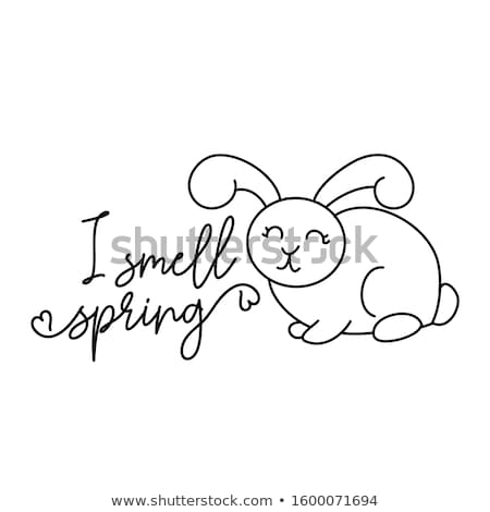 I smell spring - Cute bunny design funny hand drawn doodle Stock photo © Zsuskaa