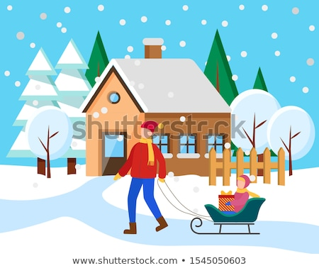 Father Rides Kid on Sled, Snowy Winter Cityscape Stock photo © robuart