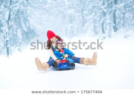 Mutter Tochter genießen Schlitten Winter Park Stock foto © AndreyPopov