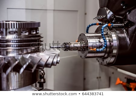 Metalworking CNC lathe milling machine. Cutting metal modern pro Stock photo © cookelma