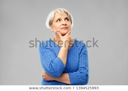 Retrato senior mulher azul suéter cinza Foto stock © dolgachov