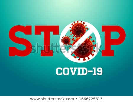 Covid-19. Coronavirus Outbreak Design with Red Virus Cell in Microscopic View on Blue Background. Ve Stock photo © articular