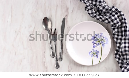 Empty tableware with black napkin, food styling plating props, d Stock photo © Anneleven