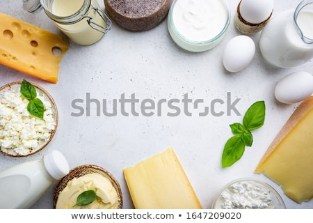 Melk cottage cheese eieren Blauw top Stockfoto © karandaev