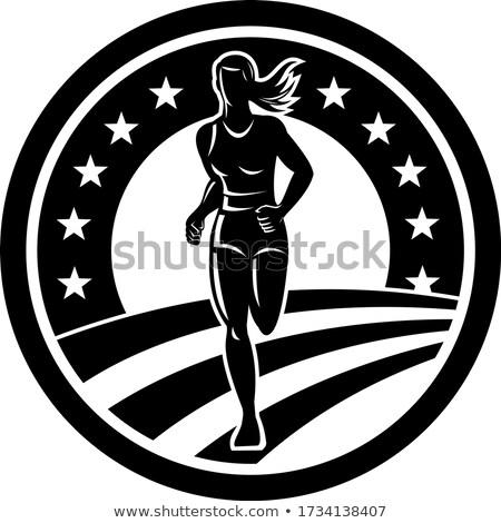 Americano feminino maratona corredor preto e branco ilustração Foto stock © patrimonio