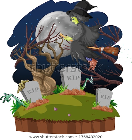 Wizard or witch with broomstick and tomb on dark forest isolated Stock photo © bluering