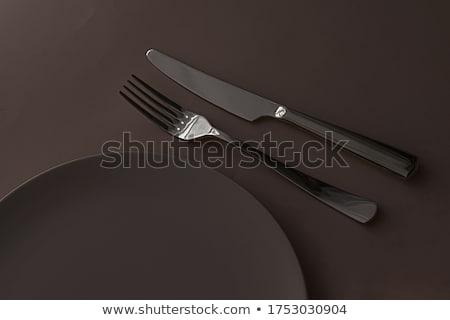Boş plaka çatal bıçak takımı ayarlamak karanlık Stok fotoğraf © Anneleven